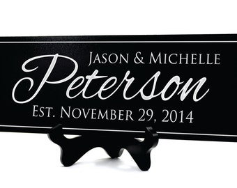Personalized Last Name Sign Established Family Sign 8x24