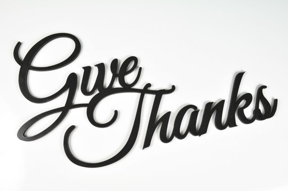 Word Art Wood 3D Cutout Give Thanks by MRC Wood Products