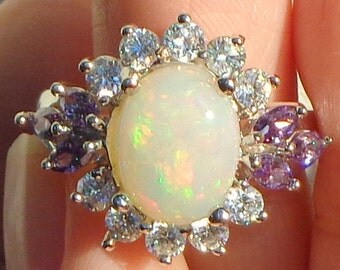Opal Ring, Sterling Silver Ring, Welo Opal Ring, Peach Green Fire, Ethiopian Opal Ring, Natural Stone, Mined in Ethiopia