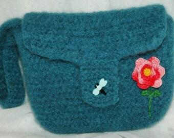 Felted crochet wristlet, small handmade clutch, dark teal blue, red flower applique, blue dragonfly button, one of a kind mini purse,  OOAK,