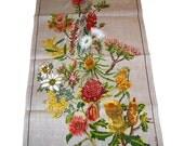 Vintage 1960s Australian Wild Flowers Linen Tea Towel Novelty Print Unused