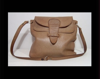 1960s 1970s medium brown leather messenger bag purse - cross body made in Scotland - flap - 2 outer zippered pockets