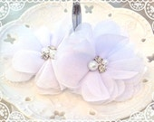 "NEW: 3"" inch TWO Aubrey WHITE - Soft Chiffon with pearls and rhinestones Mesh Layered Small Fabric Flowers, Hair accessories"