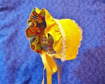 Yellow Baby Bonnet with Layered Lace