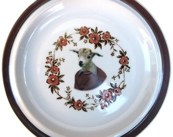 Billy Goat Portrait Plate - Altered Vintage Plate 8.15""