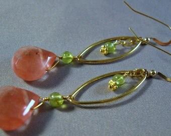 Gemstone hoop earrings, gemstone earrings, hoop earrings, dangle earrings, drop earrngs, peridot earrings, cherry quartz earrings, earrings