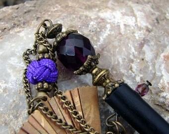 Deep Purple Hair Stick with Dragon Charm Folding Fan and Antique Bronze Accents Geisha Hair Chopstick Hair Pins - Reiko
