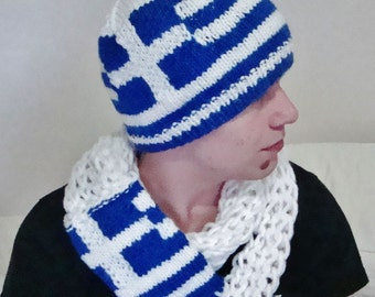 Greek Boyfriend Gift sets for men - Greek Flag Hat and Scarf - Greek Teacher Gift - Birthday gift idea