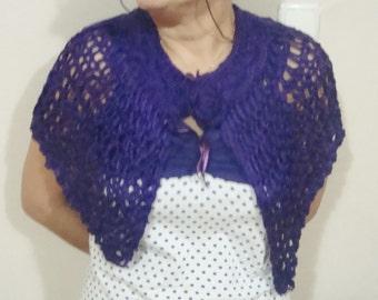 Purple KNIT SHAWL - Purple Shawl -  Chunky Knit Shawl . Plum Weddings . Winter Wedding Purple Violet shawl