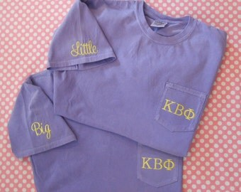 Monogrammed Comfort Colors Adult  Short Sleeve Pocket  Shirt with Your  Greek letters and  Big or Little monogrammed on sleeve