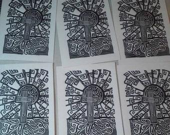Sacrifice of the sun, linocut print, editioned