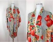 Vintage Silk Haori / Short Robe / Kimono Cardigan / Kimono Jacket / 1940s Art Deco / Grey Red Poppy IKAT Floral Print