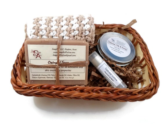 Gift Basket | Cold Process Oatmeal Soap | Lotion Bar | Lip Balm | Cloth or Dish | Spa Basket | Optional Gift Card | Basket | Basket Filler