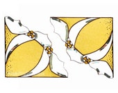 PAIR Stained Glass Window Corners Window Valance Amber Yellow BevelsGift for Grandma