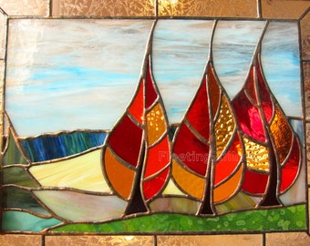 Autumn Stained Glass Panel Window Fall Trees Landscape Handmade OOAK