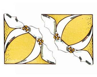PAIR Stained Glass Window Corners Window Valance Amber Yellow BevelsGift for Grandma