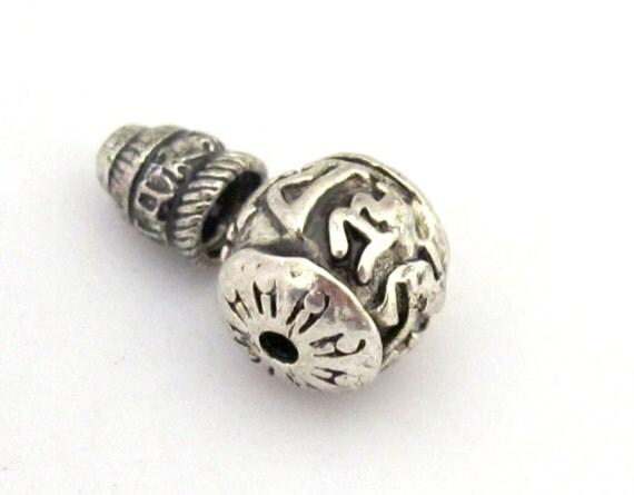 3 SETS - Guru bead set - Tibetan silver 3 hole Om mantra 12 mm size Guru Bead with Om mantra column bead - GB016s