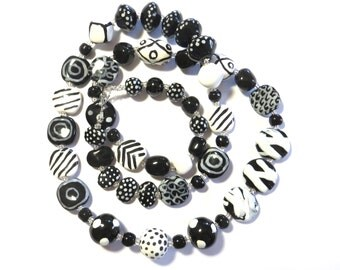 Kazuri Beaded Necklace, Ceramic Necklace,  Fair Trade, Black and White Necklace
