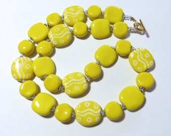 Yellow and White Beaded Necklace, Ceramic Jewelry, Kazuri Bead Necklace, Statement Necklace