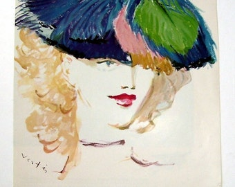 Ostrich Feathers Hat, Lilly Dache's New Day time Perfume Dashing, Du Barry's Rose Cerise Lipstick, Artist Vertes, Original Magazine Page