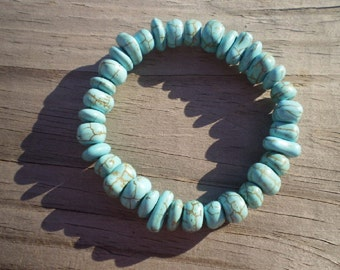 Turquoise Howlite Nugget Stretch Bracelet