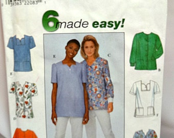 Simplicity 8351, Misses' Scrubs Top Pattern, Sewing Pattern, Misses' Size 8, 10, 12, 6 Made Easy Pattern, Uncut