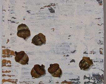 Acorns Walk in the Woods original acrylc painting on re-purposed wood
