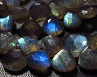 5 x 8 inches Full Strand - AAA High Quality - LABRADORITE - Faceted Heart Briolettes So Gorgeous Full Flashy Fire size - 7 - 8 mm approx