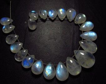 AAA - High Quality Gorgeous Rainbow Moonstone smooth Pear Briolett Full rainbow flashy rainbow fire size -  7.5x11 -13x19 mm 21 pcs