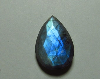 So Gorgeous Nice Quality - Faceted Pear Shape Briolett Focal - LABRADORITE - Drilled Amazing Strong Flashy Fire Huge Size 15x21 mm DRILLED