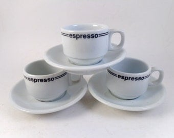 3 Trio Espresso Cups and Saucers  Vitrified Restaurant Type Weight