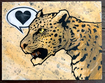 leopard - 11x14 Original Painting - Love