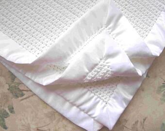 "4-SIDED BINDING. White Baby Blanket. 30""x30"""