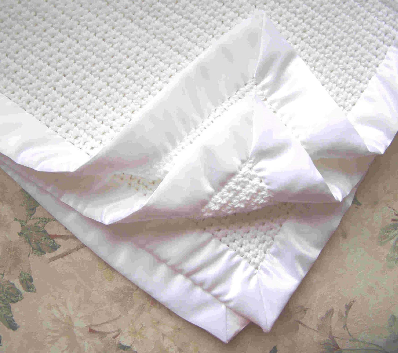 4-SIDED BINDING. White Baby Blanket. 30x30