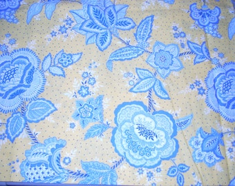 """Flowered cotton Fabric - Yellow background with large blue decorative flowers and leaves -  43"""" wide - sold by the yard"""
