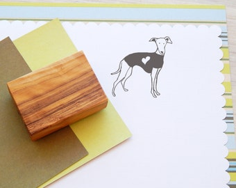 Greyhound in Coat Olive Wood Charity Stamp