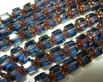 25 6mm Montana Blue with Gold Firepolished Cathedral Czech Glass Beads
