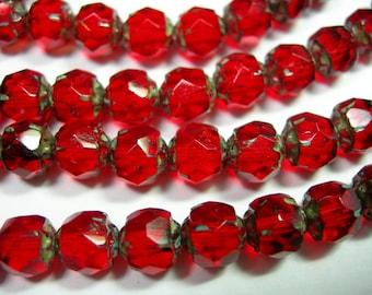 25 6mm Czech Glass Ruby Red Travertine Renaissance beads