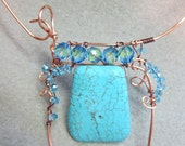 Statement necklace 18 inch choker Turquoise Pendant Bead OOAK  non tarnish copper wire wrap