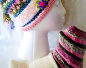 Hat and sock set, pink adult gift set, fairisle beanie, teen/adult beanie set, knitted beanie and socks, ready to ship
