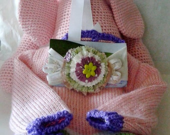 Crocheted pink bunny, baby headband, pink baby sweater, baby gift set, baby shower gift, ready to ship, knitted baby sweater