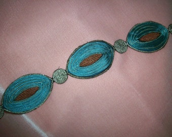 hand loomed silk and metal embroidery deco period passamenterie