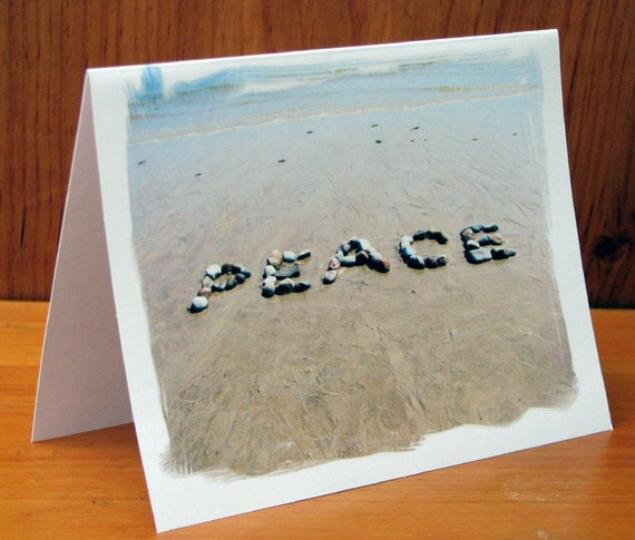 Beach Theme Cards PEACE Beach Wish Note Cards Set Of 3