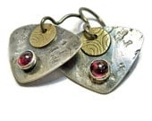 Triangular Silver and Brass with Garnet Stone Earrings