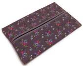 Purse Tissue Holder,Grey Flowers, Kleenex Holder, Travel Tissue Cozy, Pocket Tissue Holder