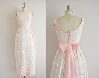 vintage 1960s dress / 60s eyelet lace party dress / 1960s pink and white dress