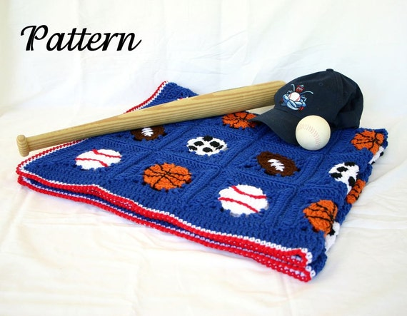 Crochet Pattern For Sports Blanket : Sports balls afghan PDF crochet PATTERN basketball football