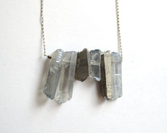 Stacked Quartz Long Necklace