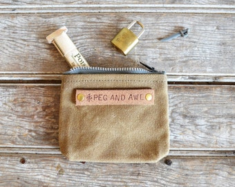 Waxed Canvas PeeWee Pouch in Tumbleweed, Small Pouch, Zipper pouch, waxed canvas, zip pouch, coin pouch, change purse, Back to School SALE