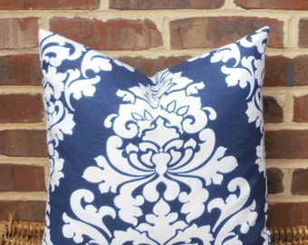 SALE ~ Decorative Pillow Cover: Large Damask Navy and White Designer 18 X 18 Pillow Cover